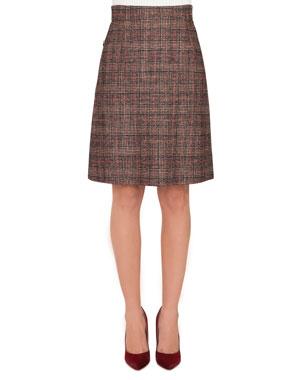 e6e74bfbc9653b Akris A-Line Plaid Wool-Silk Knee-Length Skirt