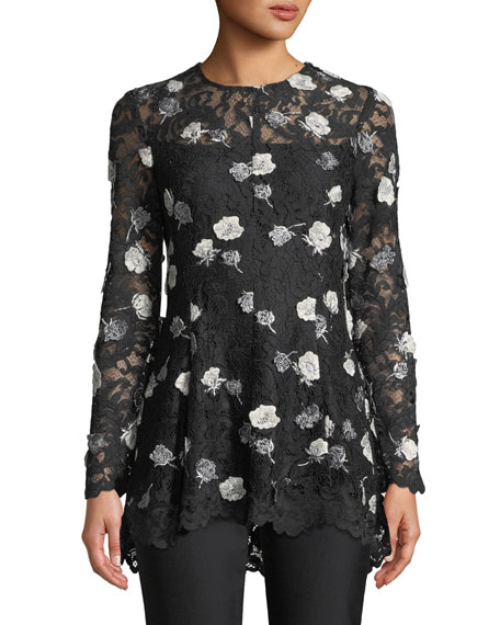 Lela Rose Long-Sleeve Fit-and-Flare Floral-Appliques Lace Top