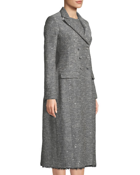 Double-Breasted Seamed Tweed Coat w/ Fringe Hem