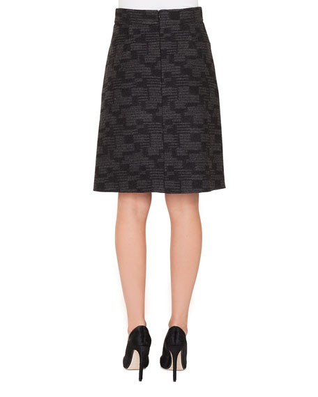 A-Line Check Cashmere Fleece Knee-Length Skirt
