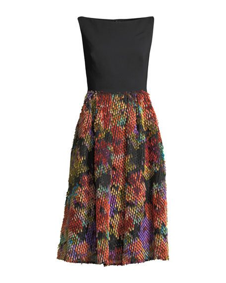 Boat-Neck Sleeveless Fit-and-Flare Cocktail Dress w/ Multicolor Skirt