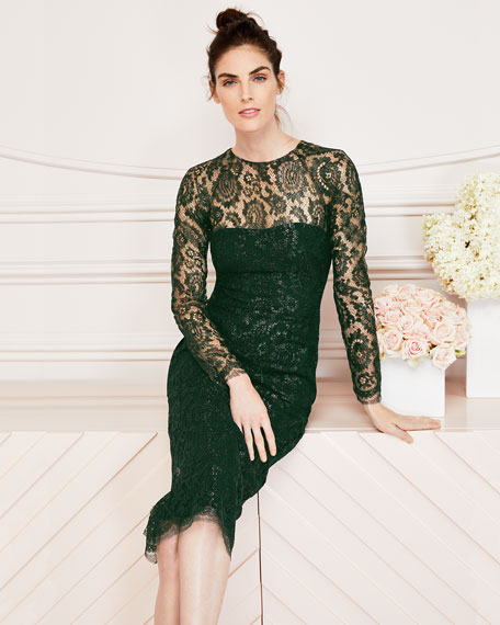 Long-Sleeve Jewel-Neck Lace Sheath Cocktail Dress