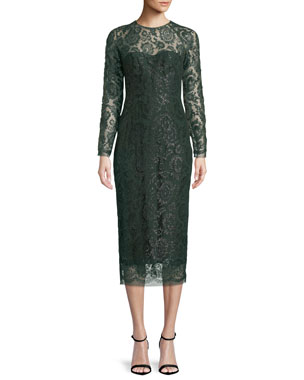 6d42b1def622 Lela Rose Long-Sleeve Jewel-Neck Lace Sheath Cocktail Dress