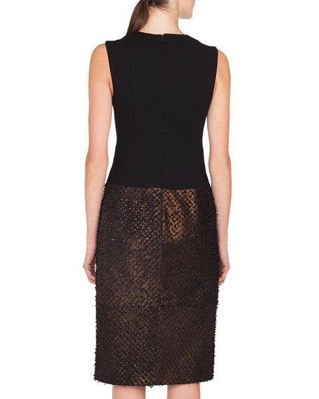 Sleeveless Solid-Bodice Metallic-Eyelash Skirt A-Line Dress w/ Inset