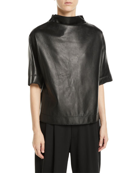 Button-Back Mock-Neck Short-Sleeve Lamb Leather Top