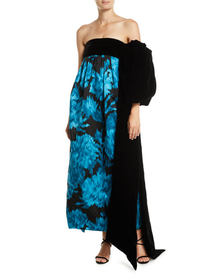 Marc Jacobs Strapless Carnation-Print Trapeze Evening Gown w/ Velvet Bow