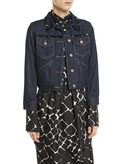 Beaded Button-Front Shrunken Denim Jacket w/ Contrast Topstitching