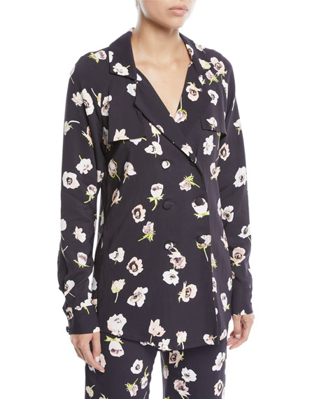 Lela Rose Double-Breasted Floral-Print Blouse and Matching Items