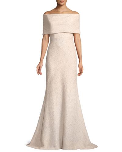 Off-the-Shoulder Embellished Tweed A-Line Evening Gown