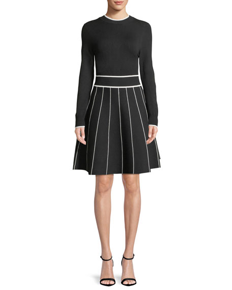 Long-Sleeve Crewneck Striped Fit-and-Flare Knit Cocktail Dress