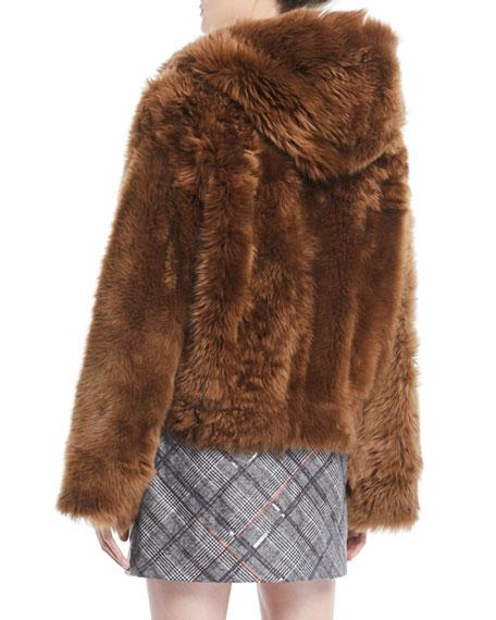 Zip-Front Reversible Leather Sheep Fur Jacket