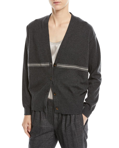 Brunello Cucinelli Cashmere Cardigan Sweater w/ Monili Stripe