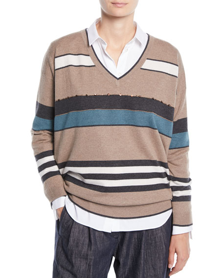 Brunello Cucinelli V-Neck 2-Ply Rugby-Stripe Cashmere Sweater w/