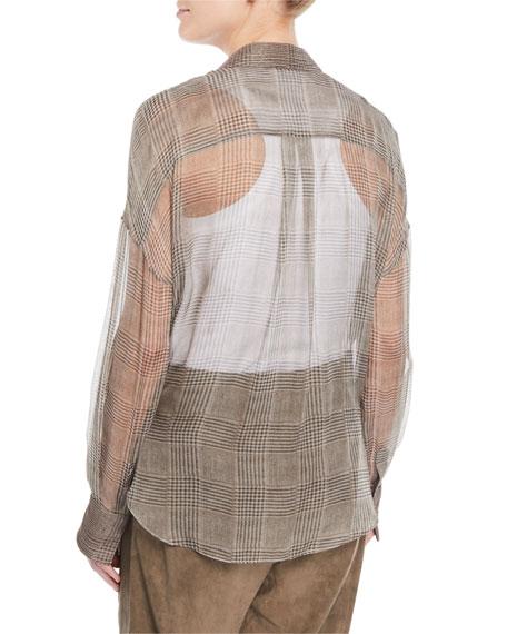 Brunello Cucinelli Button-Front Plaid Silk Chiffon Blouse