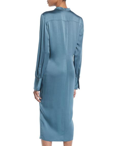 Brunello Cucinelli Long-Sleeve Twist-Front Satin Midi Dress