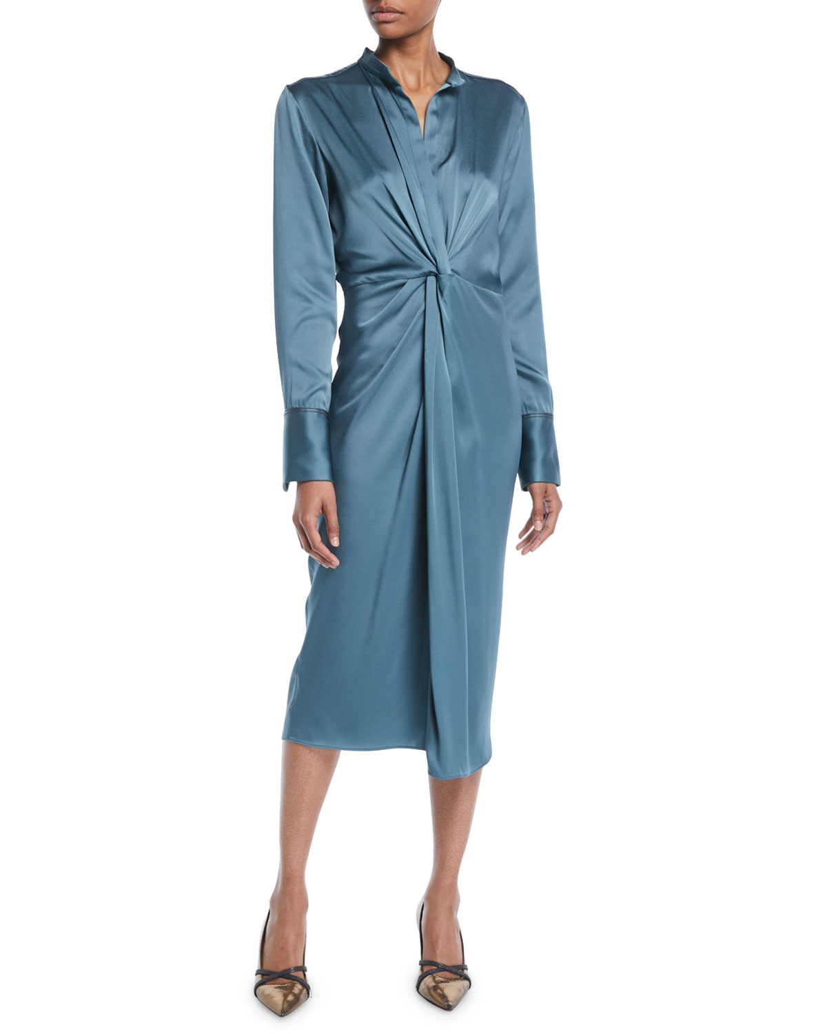 75884059a477 Brunello Cucinelli Long-Sleeve Twist-Front Satin Midi Dress
