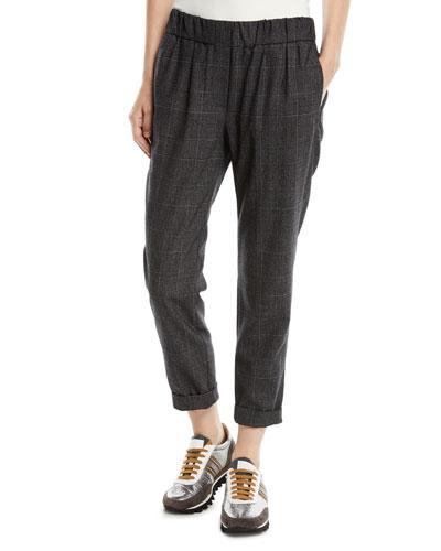 Plaid Wool Pull-On Pants w/ Monili Stripe