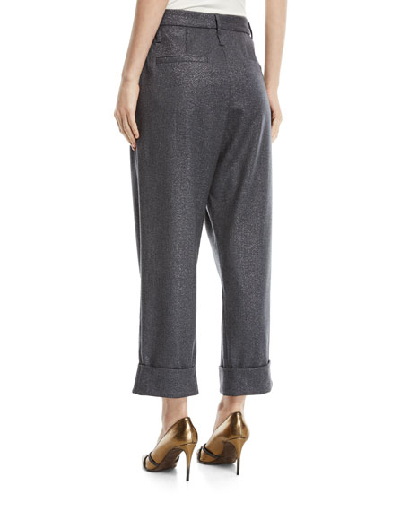 Wide-Leg Metallic Donnegal Pants w/ Pleats