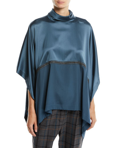 Bicolor Satin Turtleneck Poncho Top with Monili
