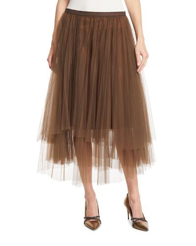 Monili-Waistband Pleated Tulle Midi Skirt