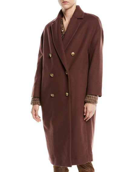 Brunello Cucinelli Double-Breasted Wool-Cashmere Coat w/ Brass Buttons
