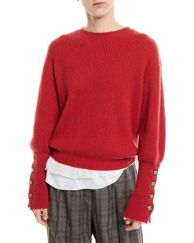 Crewneck Ribbed Cashmere Pullover Sweater w/ Brass Buttons
