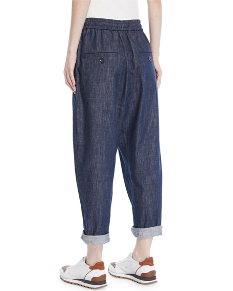 Drawstring Wide-Leg Pull-On Denim Pants w/ Monili Trimmed Pockets