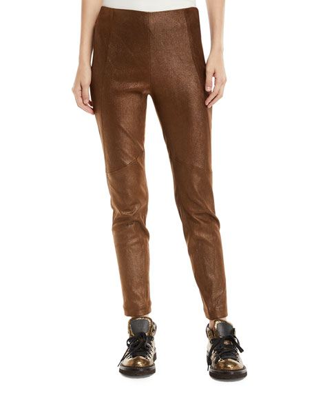 Metallic Leather Side-Zip Legging Pants