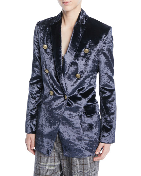 Image 1 of 2: Double-Breasted Crushed Velvet Blazer w/ Brass Button