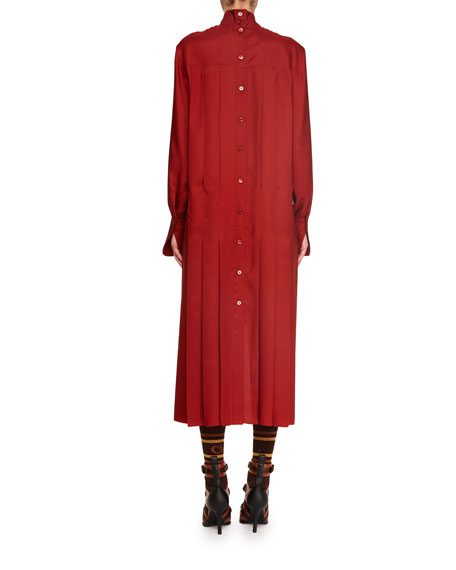 Turtleneck Long-Sleeve Pleated-Back Silk Crepe Dress