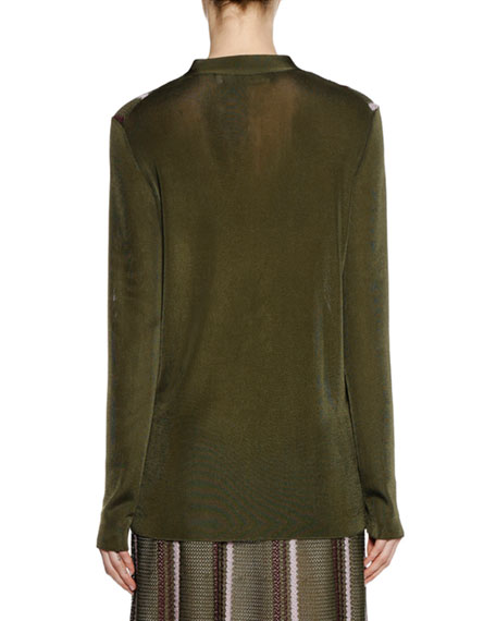 Marni Long-Sleeve Button-Front Striped Open-Weave Knit Cardigan