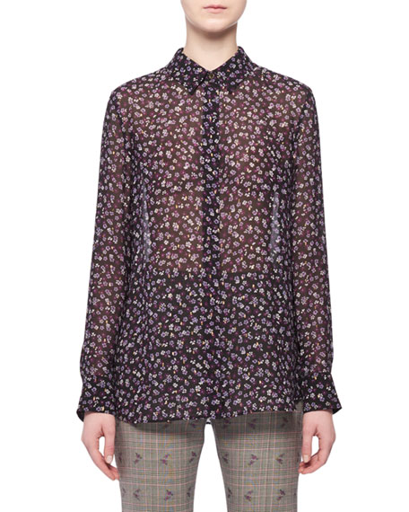 Long-Sleeve Button-Down Floral-Print Georgette Shirt