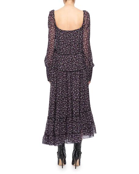 Altuzarra Square-Neck Tie-Waist Long-Sleeve Floral-Print Georgette Dress