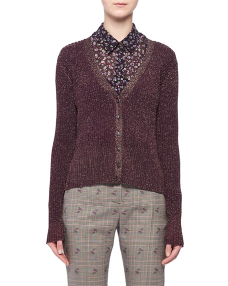 V-Neck Button-Front Metallic-Ribbed Cardigan Sweater