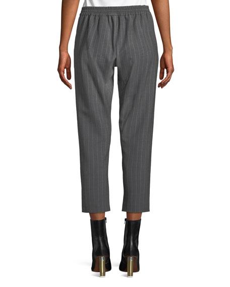 Elastic-Back Pinstripe Wool Trousers
