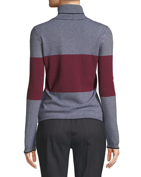 Piazza Sempione Colorblocked Striped Turtleneck Sweater
