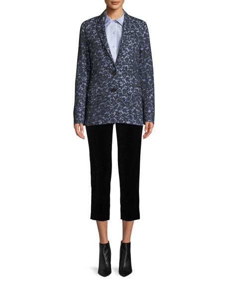 Audrey Side-Zip Straight-Leg Velvet Cropped Pants