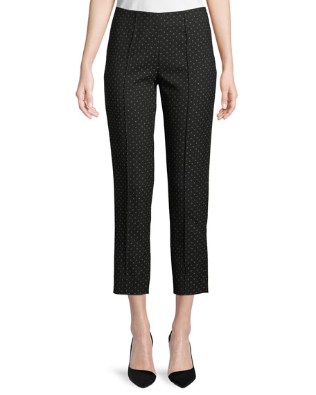 Audrey Straight-Leg Side-Zip Dotted Ankle Pants