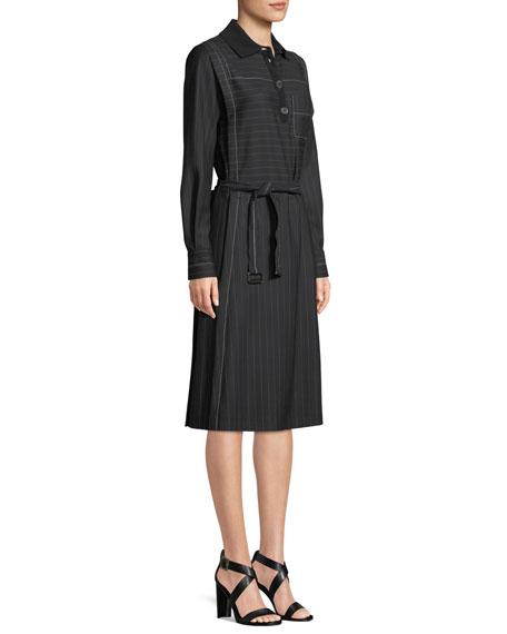 Long-Sleeve Belted A-Line Pinstripe Shirtdress w/ Knit Collar