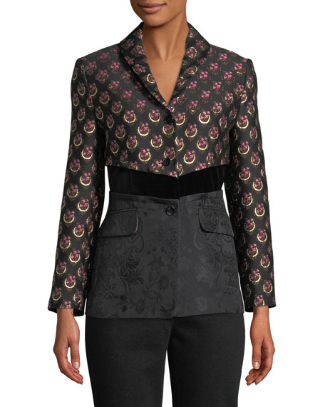 Two-Button Mixed-Jacquard Jacket