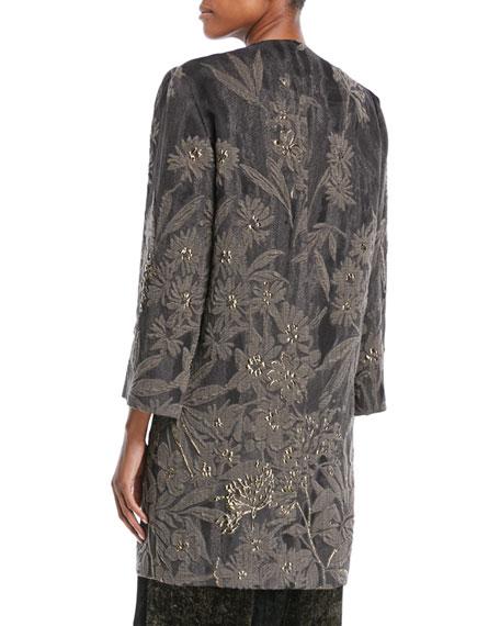 Floral-Cloque Topper Coat