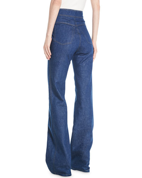 High-Waist Flared-Leg Denim Pants w/ Topstitch Detail