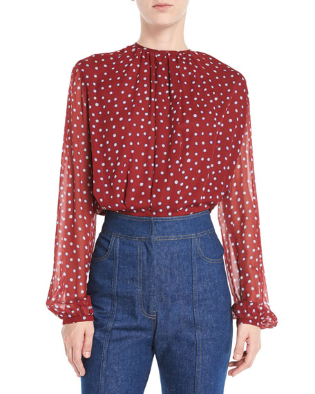 Derek Lam Long-Sleeve Dot-Print Gathered Jewel-Neck Silk