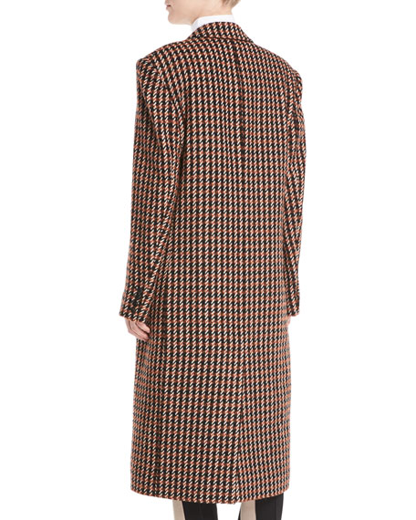 One-Button Houndstooth Plaid Easy-Fit Caban Coat