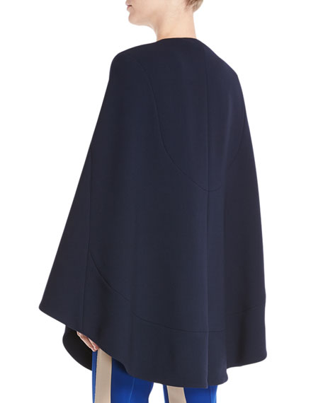 Jewel-Neck Seamed Short Cape Coat