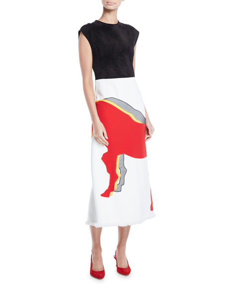 Cap-Sleeve Suede Top Horse-Applique Skirt Midi Sheath Dress