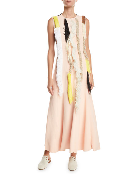 Sleeveless Embroidered Two-Tone A-Line Fringe Dress