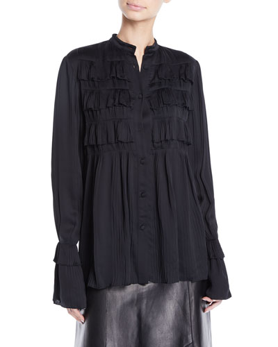 Button-Front Long-Sleeve Plisse Pleated Shirt w/ Ruffle French Cuff