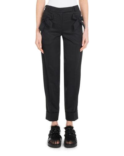 Bow-Detail Straight-Leg Slim Stretch-Wool Cropped Pants