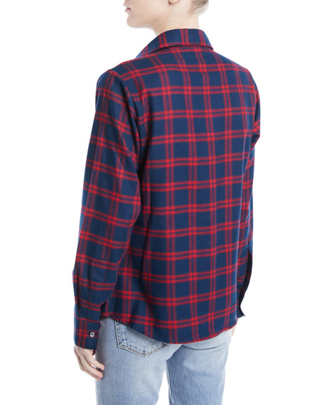 Chinoiserie Button-Front Classic Plaid Cotton Shirt